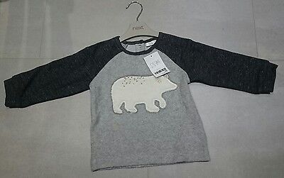 BNWT Next Grey Polar Bear Snuggly Top / Jumper - size 9-12 months