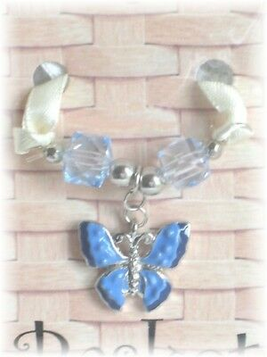 Longaberger Basket Butterfly Blue Beads Mini Charm Tie On Brand New In Pack RARE