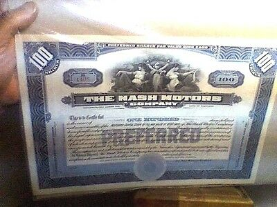 vintage THE NASH MOTOR COMPANY 100 PREFERRED SHARES UNUSED EXCELLENT