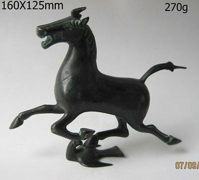 Oriental Rare Exquisite Old Chinese bronze statue horse fly swallow Figures
