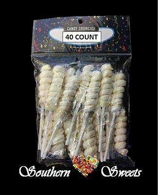 White Twisty Lollipops Wrapped 40Ct White Lollies Twisted Vintage Pops