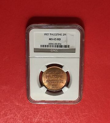 Palestine-1927 Uncirculated 2 Mils ,certified By Ngc Ms65.