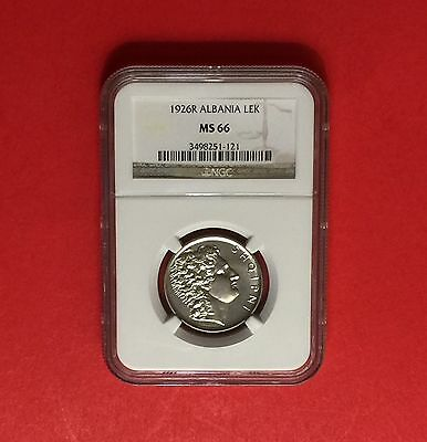 Albania - Unc 1926-R  Lek ,certified By Ngc Ms66...rare Grading.