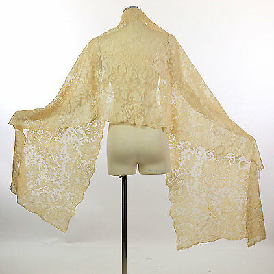 Antique vintage Victorian 19th century blonde lace silk shawl