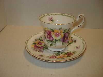 Rosina Queen's Pansy Bone China Tea Set Cup and Saucer