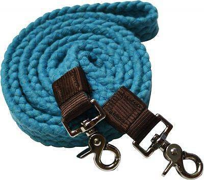 Showman TEAL Flat Cotton Roping Reins with Scissor Snap Ends! New Horse Tack!