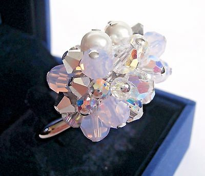 Signed Swarovski Event Ring Crystal & Pearls Size L (58) Size 8 New In Box (D)