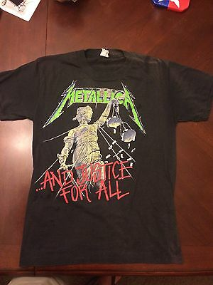 METALLICA VINTAGE 1988 T-SHIRT AND JUSTICE FOR ALL HAMMER OF JUSTICE 80s Concert