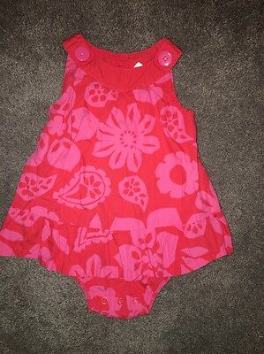 Carters Girls 18 Months Bodysuit Dress Pink And Red Floral One Piece Euc