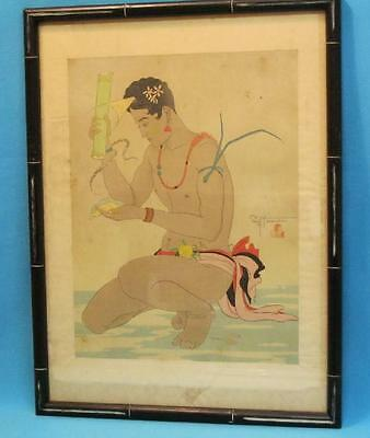 "Paul Jacoulet Signed Japanese Wooodblock Print ""Le Betel Yap"""