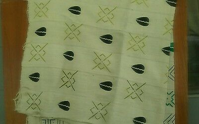 "NWOT WHITE Mali African Handcrafted Mud Cloth Bambara Fabric~ 64""x 40"" textile#2"