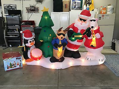 2007 Gemmy 10'L Airblown/Inflatable Santa's Band Music/Lightshow W/Box