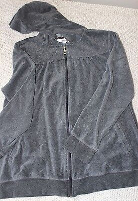 Oh Baby by Motherhood Velour Hooded Zip-Up Maternity Jacket Women's Size Large