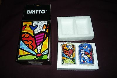 """Romero Britto Collectible 3"""" Salt & Pepper Shakers NWT New In Package"""
