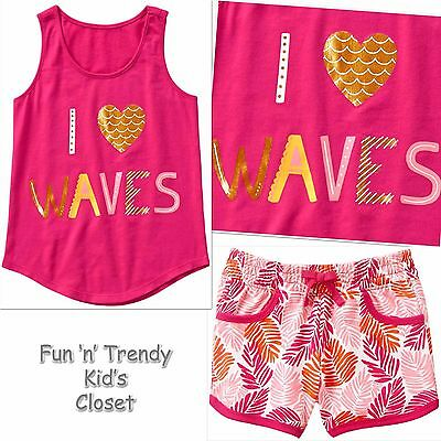 NWT Crazy 8 Girls Size Large 10-12 I Heart Waves Tank Top & Knit Shorts 2-PC SET