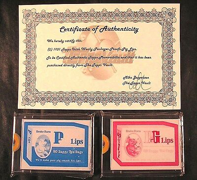 1981 Topps Wacky Packages IRISH TEST SERIES 2 Proofs Cyan/Magenta PIG LIPS w/COA