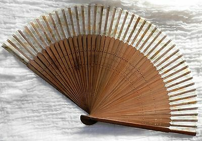 Antique Folding Hand Fan Bamboo Silk Perforated Flower Design As-Found Vintage