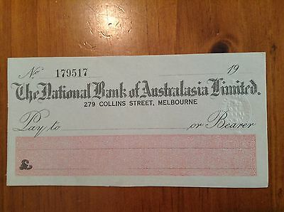 The National Bank Of Australasia Ltd Bank Cheque With Victoria 1d Impressed Duty