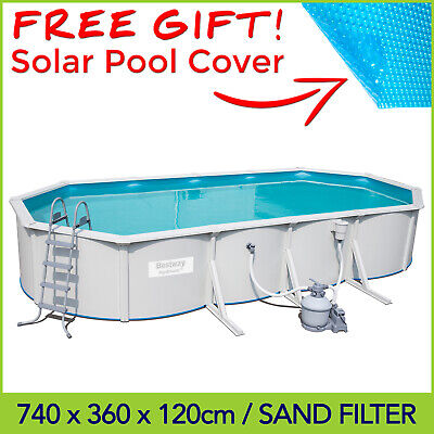 Bestway 7.4 x 3.6 x 1.2m Hydrium Oval Steel Wall Above Ground Pool - Sand Filter
