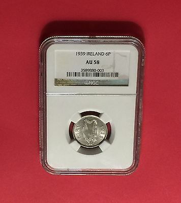 Ireland - Almost Uncirculated 1939 6 Pence Certified By Ngc Au58.