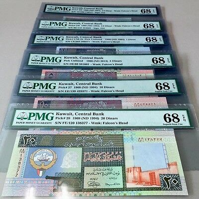 Kuwait Banknotes, 5th Issue, (1/4 To 20 Dinars) PMG Grade 68