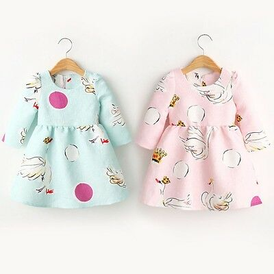 Kid Baby Girl Cotton Floral Long Sleeve Tutu Dress Casual Party Princess Skirt