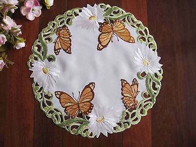 Beautiful Yellow Butterfly White Daisy Embroidery Cutwork Doily