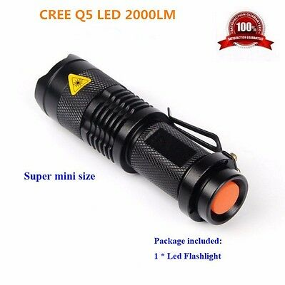 Mini CREE 2000ML XML-T6 SK68 LED Zoomable Flashlight Torch Super Bright Torch AA