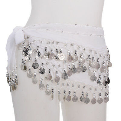 New 128 Silver Coins Belly Dance Hip Skirt Scarf Wrap Belt  White C-06