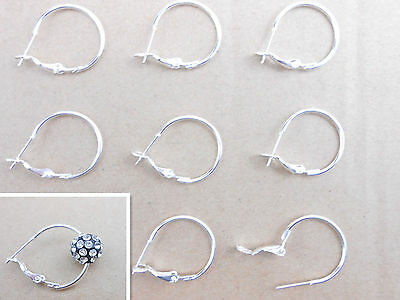 20PCS 30MM Making Silver Plate Basketball Wives Beads Circle Hoops Earrings