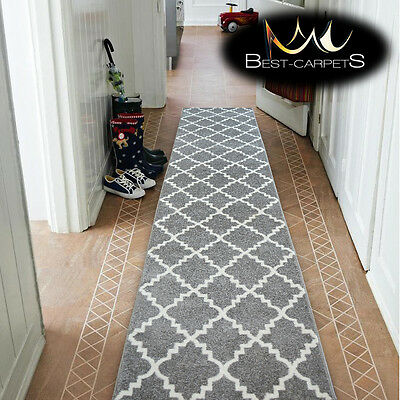 Modern Thick Hall Runner SKETCH TRELLIS grey Width 80-120cm extra long Stairs