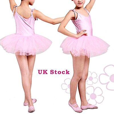 NEW Girls Pink Ballet Dress/Tutu Leotard Dance Gymnastics Fancy Fairy 3/4/5/6/7
