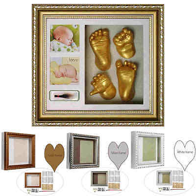 3D Baby Plaster Handprints Footprints Hand Foot Casting Kit Keepsake Gift Frame