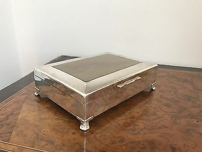 Superb Quality Antique 1930's Heavy Silver Plated Card / Cigar/ Cigarette Box