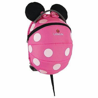 Littlelife Pink Minnie Mouse Disney Toddler Backpack With Reins, Top Grab Handle