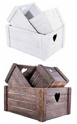 Brown/White Heart Shaped Cut Wooden Crates Display  Fruits Storage Gift Hamper