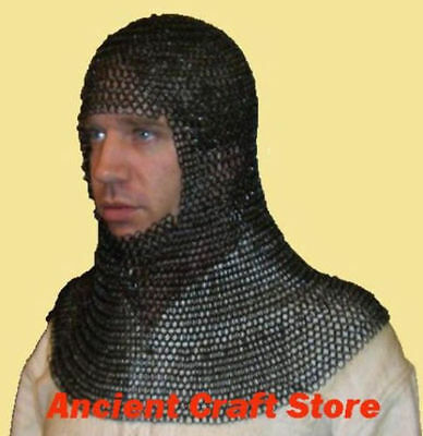 Butted Chainmail Coif Black Round-neck, Hood