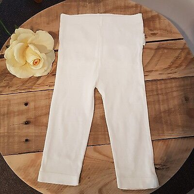 Baby Girl PURE BABY Ruffle Back White Leggings Pants 6-12 Months Size 0 Organic