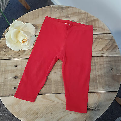 BEBE by Minihaha Baby Unisex Boy Girl Red Soft Legging Pants Size 0 6-12 Mths