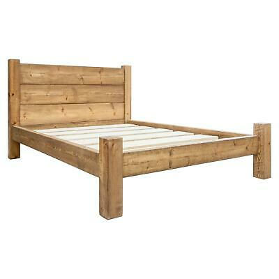 Solid Wood Bed Frame   Rustic Double King   Funky Chunky Furniture   3 Plank