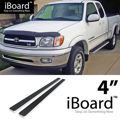 Running Board Side Step Nerf Bars 4in Silver Fit Toyota Tundra CrewMax Cab 07-19