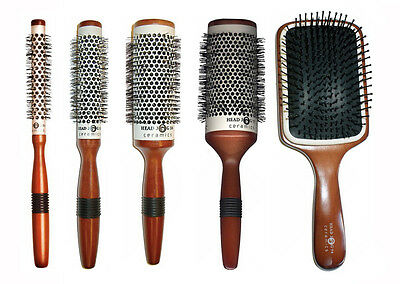 Round Hair Brush Ceramic Wooden Handle Head Jog Hair Tools
