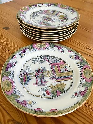 Antique 1880's Bw&co Bate Walker Gildea & Walker Porcelain Set Of 8 Plates Plate