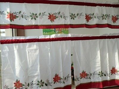 Pretty X'mas Flower Embroidery Patch Golden Thread White Curtain 3 Pieces Set