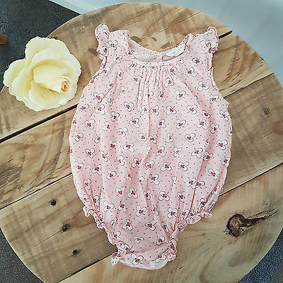 COUNTRY ROAD Baby Girl Pink Floral Summer One Piece Romper Outfit Size 0 6-12M