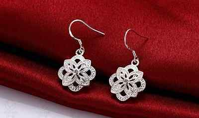 Sterling Silver Filled 925 Made With Swarovski Crystal Rose Flower Earrings