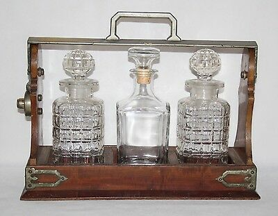 Betjemann's Patent - Antique Silver Plated Mahogany Three Decanter Tantalus