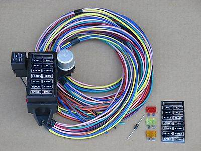 14 FUSE WIRING WIRE HARNESS W/ 12 13 or 14 CIRCUIT - STREET ROD MUSCLE RACE CAR