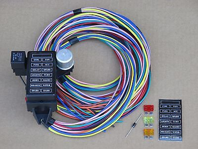 14 FUSE WIRING WIRE HARNESS W/ 12 13 or 14 CIRCUIT - GM FORD MOPAR DODGE CLASSIC