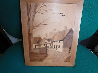 VINTAGE - Beautiful Marquetry Picture of a Village